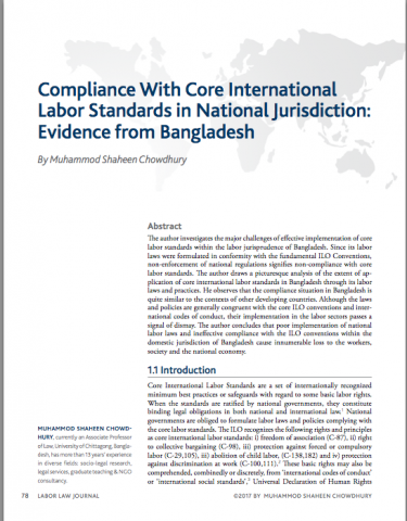 Compliance With Core International Labor Standards in