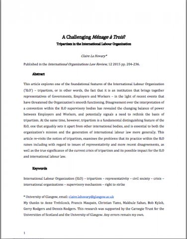 labour law research papers Labour law labour migration maritime labour convention maternity protection millennium development goals papers and briefs ilo research paper no20.